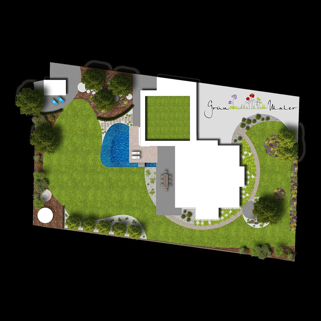 Gartendesign im Konzeptplan dargestellt